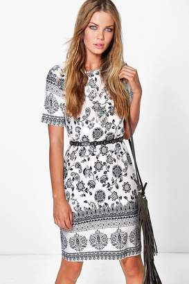 boohoo Karolyn Ethnic Printed Boho Shift Dress $26 thestylecure.com