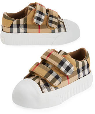 Burberry Belside Vintage Check Canvas Sneakers, Toddler