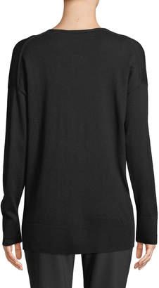 Lafayette 148 New York Silk-Cashmere V-Neck Lace-Inset Sweater