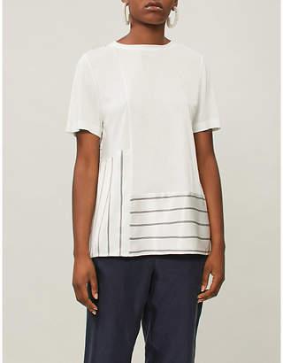 St. John Contrast-panel cotton-jersey T-shirt