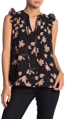Collective Concepts Floral Chiffon Sleeveless Ruffled Pintuck Blouse