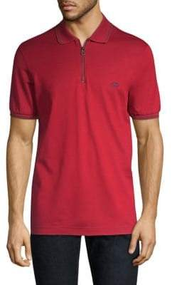 Salvatore Ferragamo Cotton Pique Zip Polo Shirt