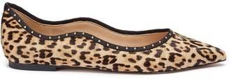 Sam Edelman 'Rivera' stud scalloped leopard print skimmer flats