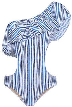 Enzo One-Shoulder Cutout Striped Swimsuit