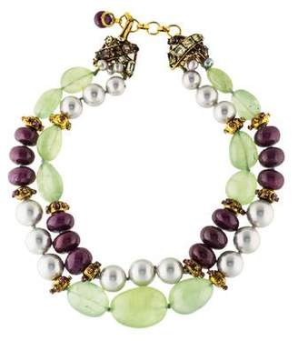 Iradj Moini Multistone & Faux Pearl Double Strand Necklace