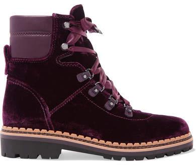 Sam Edelman - Browan Leather-trimmed Velvet Ankle Boots - Burgundy