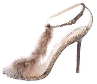 Charlotte Olympia Feather-Trimmed T-Strap Sandals