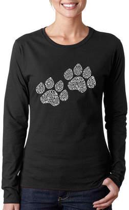 LOS ANGELES POP ART Los Angeles Pop Art Women's Long Sleeve Word Art T-Shirt -Woof Paw Prints
