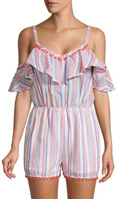 Moon River Striped Cold-Shoulder Cotton Romper
