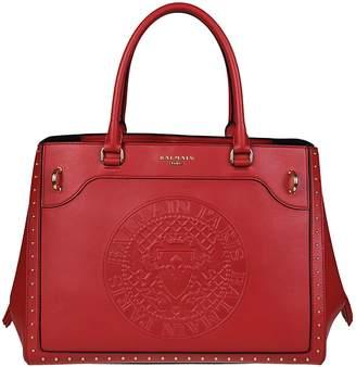 Balmain Leather Maxi Logo Red Tote