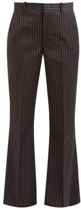Gucci Logo Pinstripe Flared Woollen Twill Trousers - Womens - Grey Multi