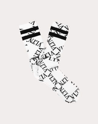 Valentino Vltn Grid Socks Man White/ Black Cotton 88%, Polyamide 10%, Elastane 2% L/XL