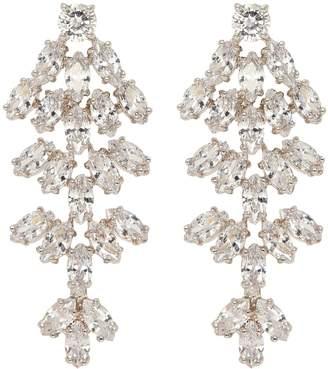 Kenneth Jay Lane CZ by Cubic zirconia leaf statement earrings