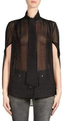 Balenciaga Twisted Sleeve Polka Dot Blouse