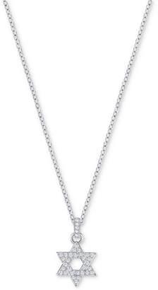"Swarovski Silver-Tone Pave Star of David 16-1/2"" Pendant Necklace"