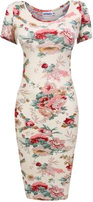 BEIGE Hotouch Womens Classic Slim Fit Floral Midi Bodycon Party Dress(,S)