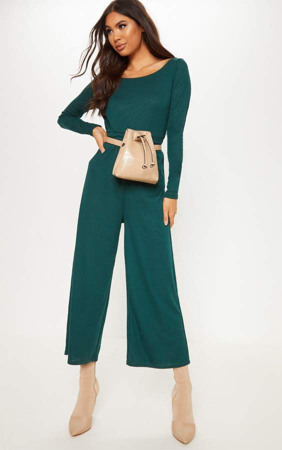 Emerald Green Rib Off Shoulder Culotte Jumpsuit