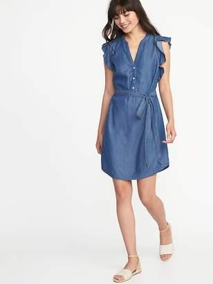 Old Navy Chambray Flutter-Sleeve Tie-Belt Shirt Dress for Women