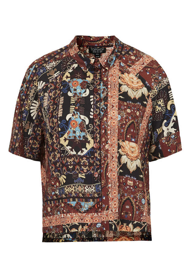 Topshop Short sleeve, marakesh print shirt with front button placket. co-ords with wide leg trousers. 100% polyester. machine washable.