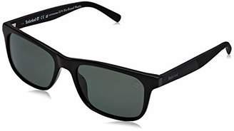 Timberland Men's TB9141 Sunglasses, (Shiny Black/Green Polarized)