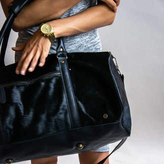 MAHI Leather Pony Hair Leather Classic Duffle In Black