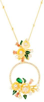 Mother of Pearl Angélique de Paris Mother of Pearl, Enamel, & Cubic Zirconia Jardin De Fleurs Pendant Necklace