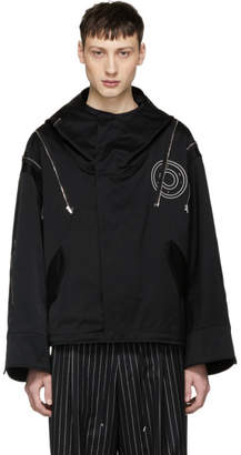 ALMOSTBLACK Black Zip and Button Hooded Jacket