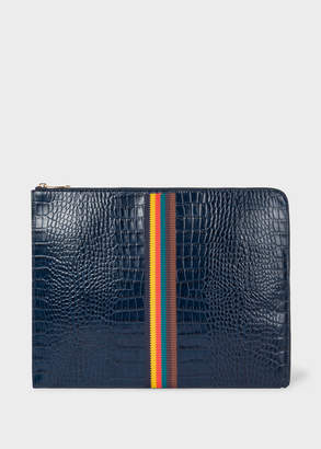 Paul Smith Men's Blue 'Bright Stripe' Mock-Croc Leather Document Pouch