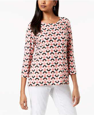 JM Collection Printed Jacquard Top
