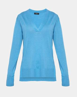 Theory Silk Blend V-Neck Sweater
