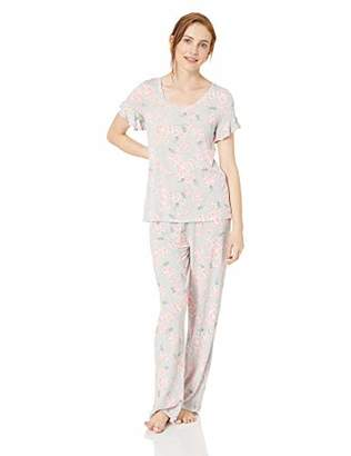 Hue Women's Plus Size Printed Short Sleeve Tee and Long Pant 2 Piece Pajama Set,3X
