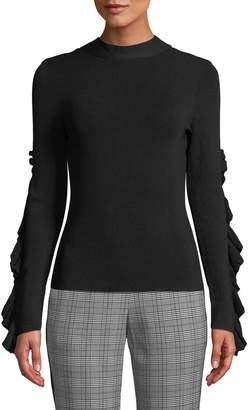 Rachel Roy Callum Ruffle-Sleeve Turtleneck Top