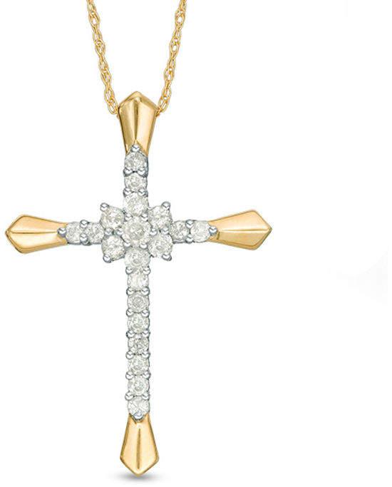 Zales 3/8 CT. T.W. Diamond Flower Cluster Cross Pendant in 10K Gold