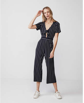 Express stripe tie front jumpsuit
