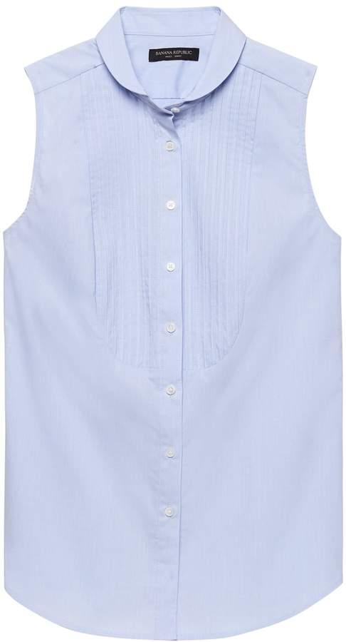 Riley-Fit Sleeveless Tuxedo Shirt