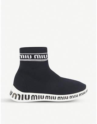 Miu Miu Logo-detail stretch-knit high-top trainers