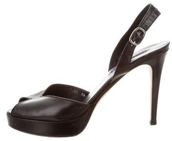 Ralph Lauren Collection Leather Peep-Toe Pumps