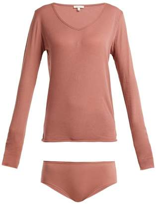 Skin - Long Sleeve Top And Briefs Pima Cotton Pyjama Set - Womens - Dark Pink