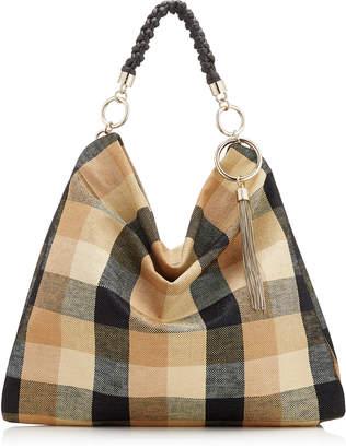 Jimmy Choo CALLIE/XL Black and Caramel Check Raffia XL Bag