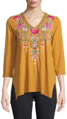 Johnny Was Peta Floral-Embroidered Cotton Tunic Top