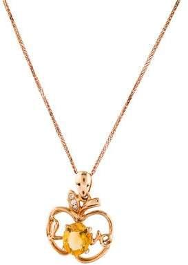 18K Citrine & Diamond Apple Pendant Necklace