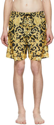 Versace Underwear Black and Gold Barocco Print Swim Shorts