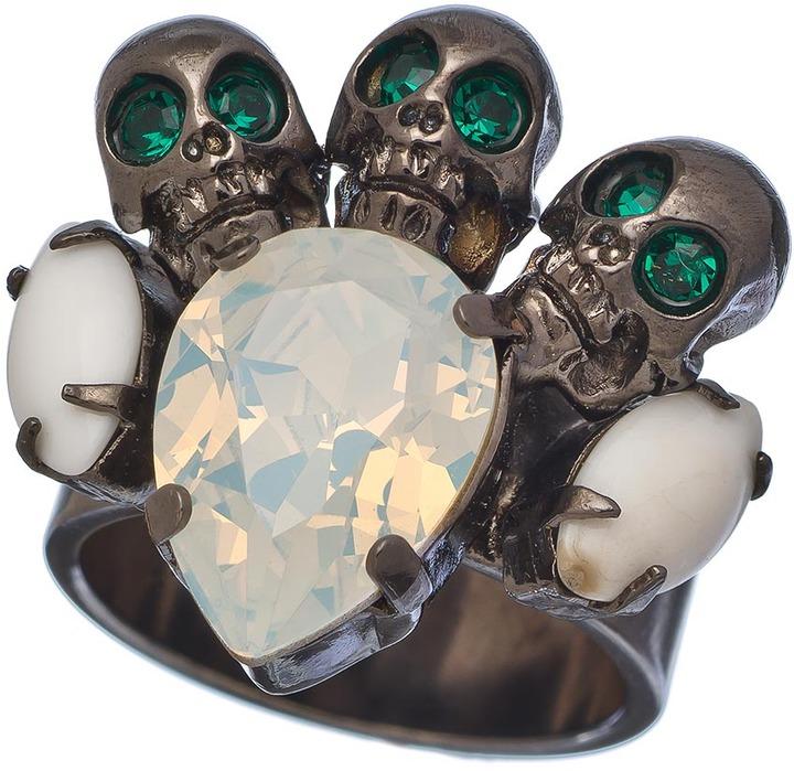Swarovski Michael Spirito Gunmetal And Triple Skull Ring