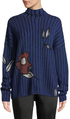 Christian Wijnants Kamran Turtleneck Stripe & Floral Jacquard Sweater