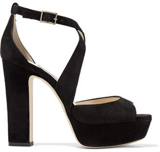 Jimmy Choo April 120 Suede Platform Sandals - Black