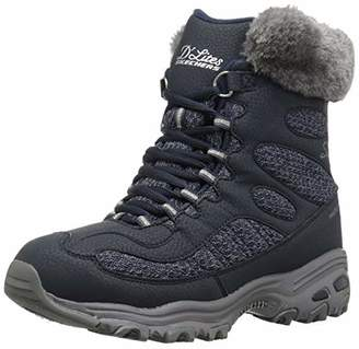 Skechers Women's D'Lites - Bomb Cyclone. Short Lace Up Boot with Fur Collar Fashion