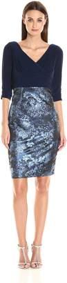 Adrianna Papell Women's Deep V Neck Jersey Dress with Jacquard Skirt