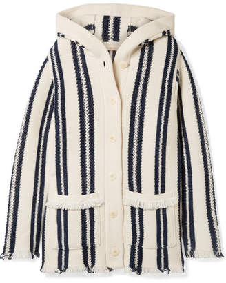 Tory Burch Hooded Fringed Striped Linen And Wool-blend Cardigan - Ivory