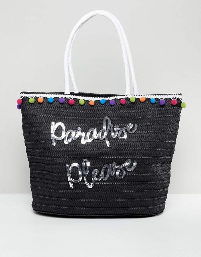 7X Slogan Straw Beach Bag