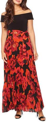 PREMIER AMOUR Premier Amour Short Sleeve Off The Shoulder Floral Maxi Dress